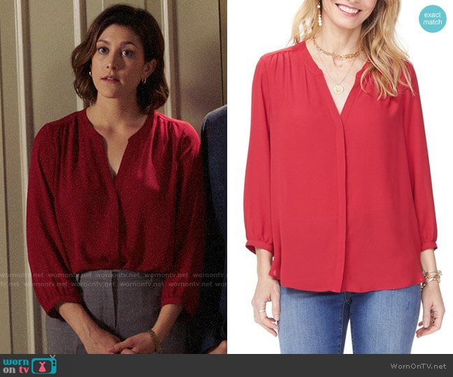 NYDJ Pleat Back Blouse worn by Sydney Strait (Caitlin McGee) on Bluff City Law