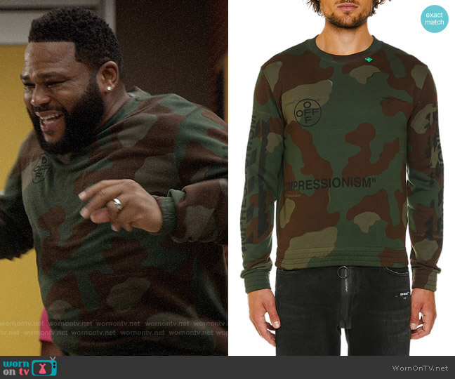 Off White Camo Diagonal-Arrows Sweatshirt worn by Andre Johnson (Anthony Anderson) on Blackish