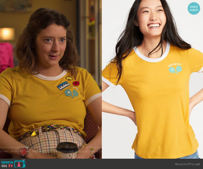 Slim-Fit Graphic Ringer Tee by Old Navy worn by Nonnie Thompson (Kimmy Shields) on Insatiable