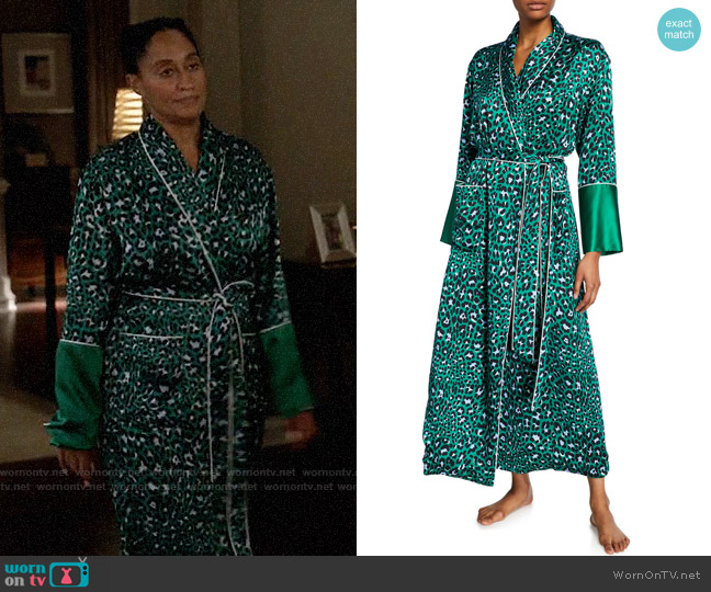 Olivia von Halle Capability Danger Leopard-Print Long Silk Robe worn by Rainbow Johnson (Tracee Ellis Ross) on Blackish