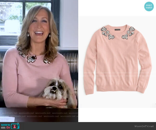 Opal-embellished Sweater by J.Crew worn by Lara Spencer  on Good Morning America