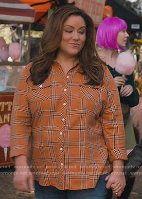 Katie's orange plaid shirt on American Housewife