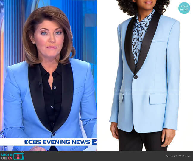 Oren Stretch Wool Jacket by A.L.C. worn by Norah O'Donnell  on CBS Evening News