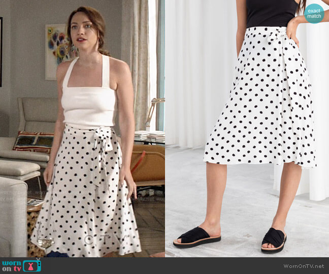 & Other Stories Belted Polka Dot Midi Skirt worn by https://www.cbs.com/shows/god-friended-me/ (CBS) on Uncategorized