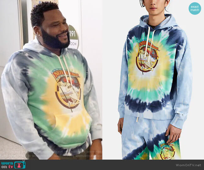 Ovadia & Sons Not Fade Away Tie-Dyed Oversized Hoodie worn by Andre Johnson (Anthony Anderson) on Blackish