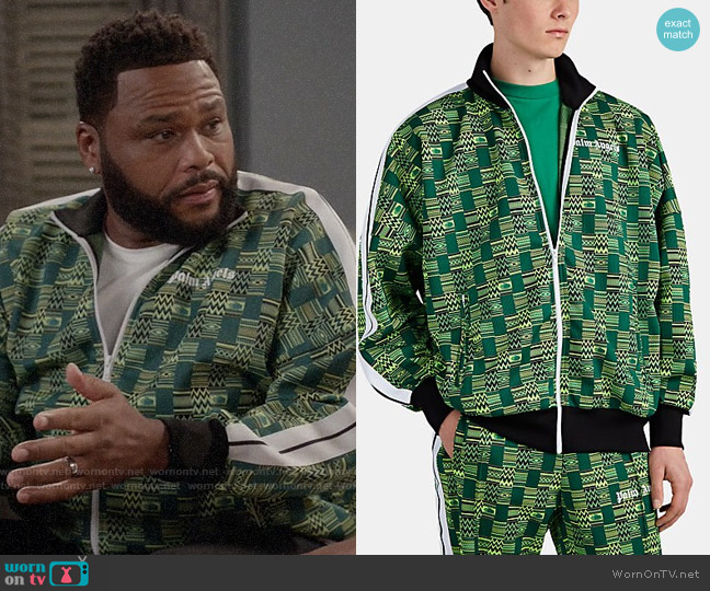 Palm Angels Geometric Jacquard-Knit Track Jacket worn by Andre Johnson (Anthony Anderson) on Blackish