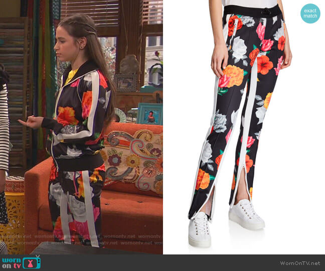 Fresh Cut Floral Track Pants by Pam & Gela worn by Tess O'Malley (Sky Katz) on Ravens Home