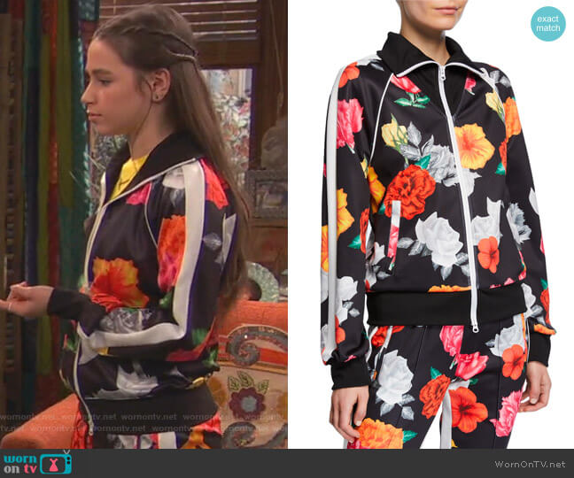 Fresh-Cut Floral-Print Zip-Front Track Jacket by Pam & Gela worn by Tess O'Malley (Sky Katz) on Ravens Home