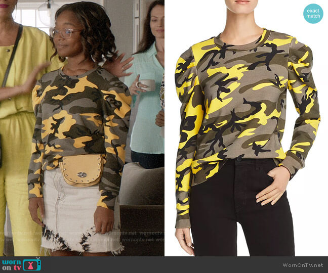 Pam & Gela Puff-Sleeve Camo Sweatshirt worn by Diane Johnson (Marsai Martin) on Blackish