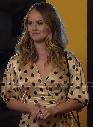 Patty's yellow polka dot wrap dress on Insatiable