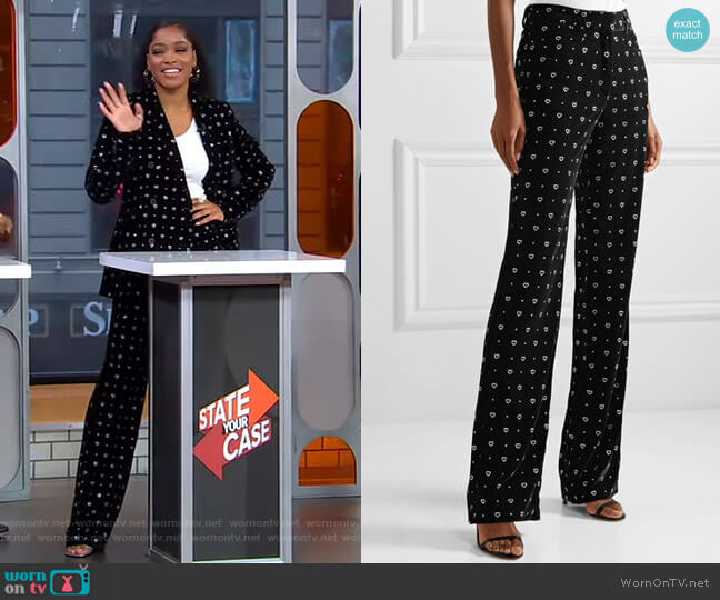 Glittered Velvet Pants by Paul and Joe worn by Keke Palmer  on Good Morning America