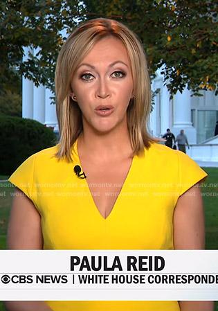 Paula's yellow v-neck cap sleeve dress on CBS This Morning