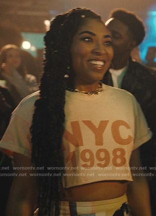 Peri's pink NYC 1998 print tee on Light as a Feather