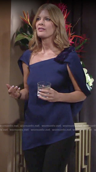Phyllis's blue asymmetric cape sleeve top on The Young and the Restless