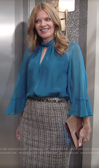Phyllis's blue keyhole blouse and tweed skirt on The Young and the Restless