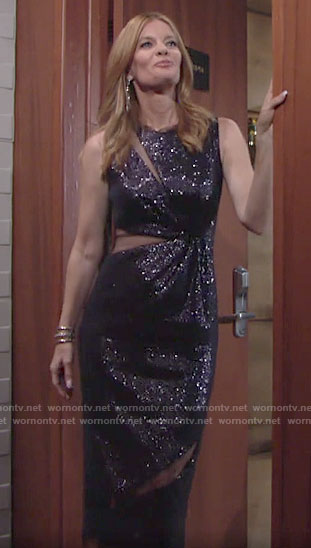Phyllis's blue sequin dress on The Young and the Restless