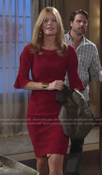 Phyllis's red bell sleeve dress on The Young and the Restless