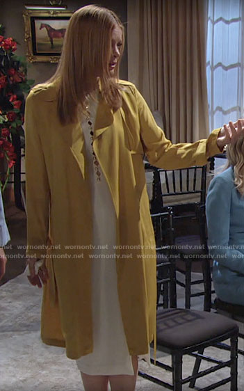 Phyllis's white dress and yellow trench coat on The Young and the Restless