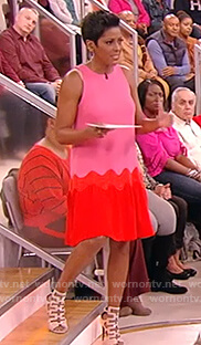 Tamron's pink and red dress on Tamron Hall Show