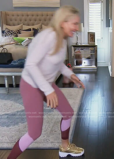 Shannon's pink colorblock leggings on The Real Housewives of Orange County