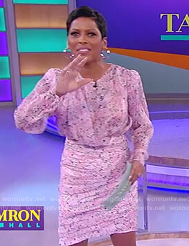 Tamron's pink ruched mini dress on Tamron Hall Show