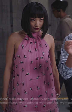 Mei's pink floral mesh dress on Sunnyside