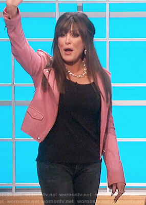 Marie's pink leather moto jacket on The Talk