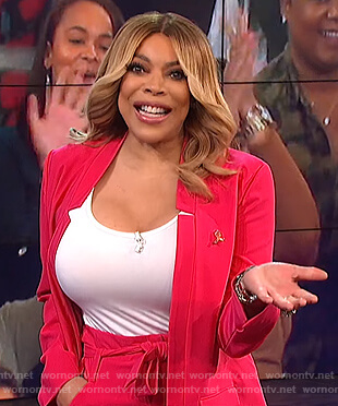 Wendy's pink blazer and pants on The Wendy Williams Show