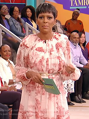 Tamron's pink pleated dress on Tamron Hall Show