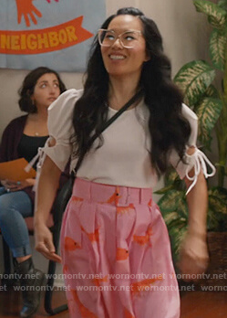 Doris's pink prawns maxi skirt and top on American Housewife