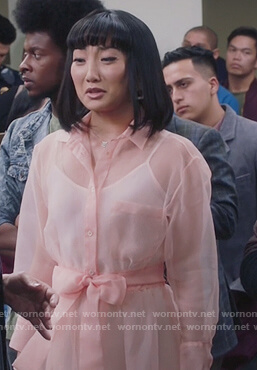 Mei's pink sheer tie waist dress on Sunnyside