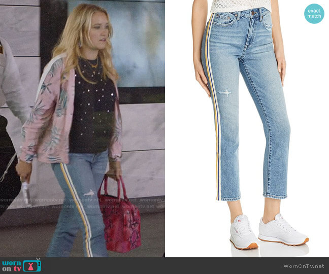 Pistola Monroe Side-Stripe Cropped Cigarette Jeans in Light Wash worn by Roxy Doyle (Emily Osment) on Almost Family