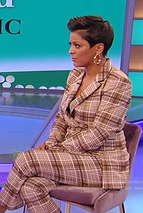 Tamron's plaid blazer and pants on the Tamron Hall Show