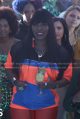 Porsha's orange and blue colorblocked jacket on Empire