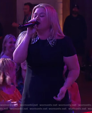 Kelly's black leopard collar mini dress on The Kelly Clarkson Show