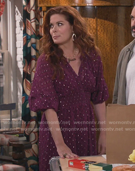 Grace's purple metallic dress on Will and Grace