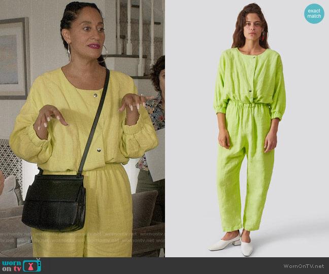 Rachel Comey Holt Jumpsuit in Lime Heavy Linen worn by Rainbow Johnson (Tracee Ellis Ross) on Blackish