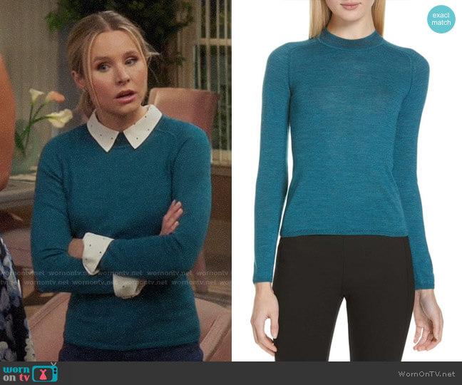 Rag & Bone Pamela Teal Sweater worn by Eleanor Shellstrop (Kristen Bell) on The Good Place