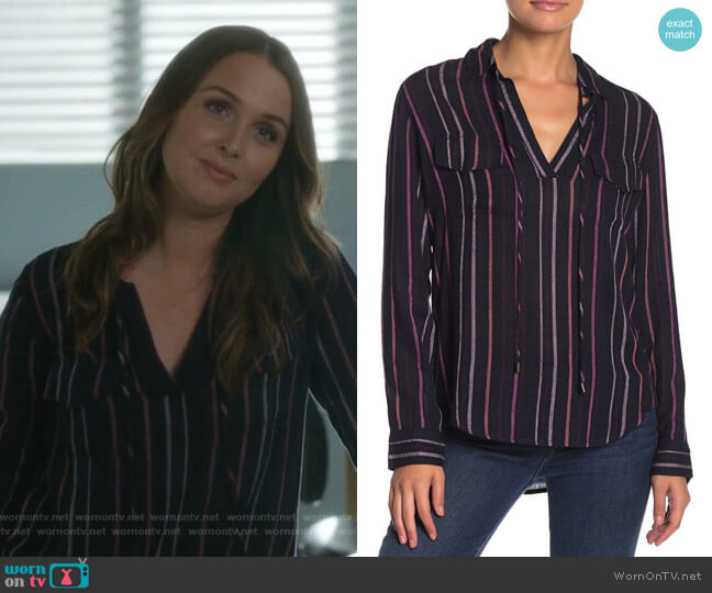 Selena Drawstring Stripe Shirt by Rails worn by Jo Wilson (Camilla Luddington) on Greys Anatomy