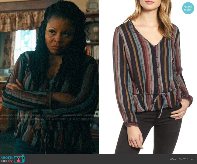 Rails Beaux Striped Top worn by Adams (Tymberlee Hill) on Perfect Harmony