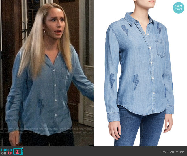 Rails Ingrid Lightning Bolt Button-Down Top worn by Josslyn Jacks (Eden McCoy) on General Hospital
