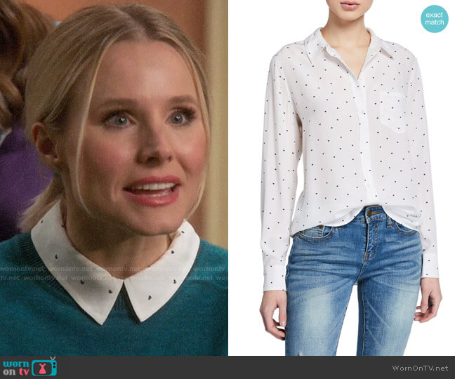 Rails Kate Heart Print Shirt worn by Eleanor Shellstrop (Kristen Bell) on The Good Place