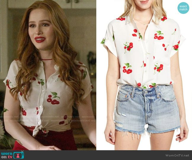 Rails Whitney Cherry Bloom Shirt worn by Cheryl Blossom (Madelaine Petsch) on Riverdale