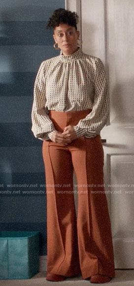 Rainbow's checked mock neck blouse and wide leg pants on Black-ish