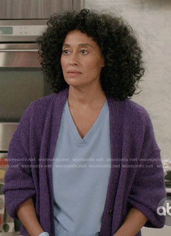 Rainbow's purple cardigan on Black-ish