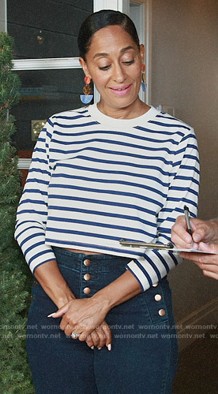 Rainbow's striped crop tee and button detail jeans on Black-ish