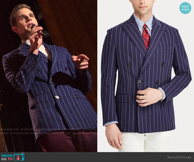 Polo Ralph Lauren Morgan Stripe Suit Jacket worn by Payton Hobart (Ben Platt) on The Politician