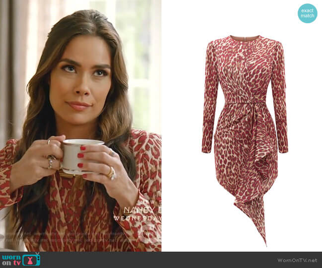 Draped Leopard Print Chiffon Mini Dress by Rasario worn by Cristal Jennings (Daniella Alonso) on Dynasty