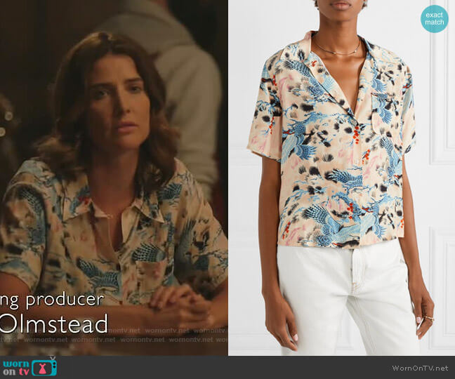 Printed Hawaiian Shirt by Re/Done worn by Dex Parios (Cobie Smulders) on Stumptown