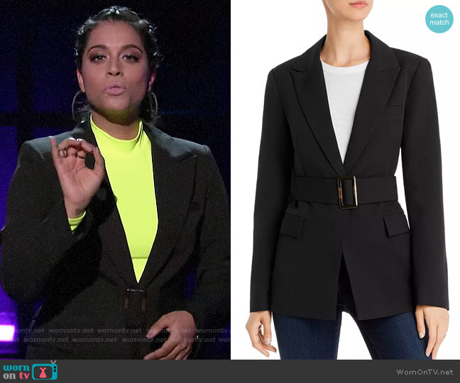 Re:named Miller Belted Blazer worn by Lilly Singh  on A Little Late with Lilly Singh